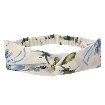 Haarband twist bloemen print wit