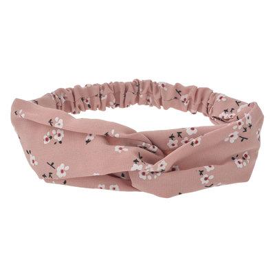 Haarband twist bloemen print roze