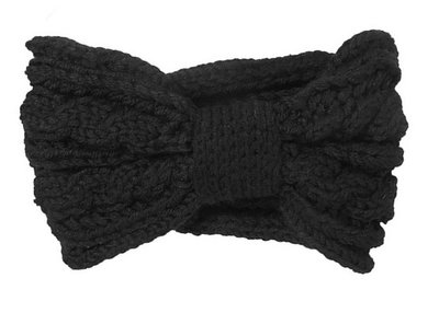 Haarband kabel patroon zwart