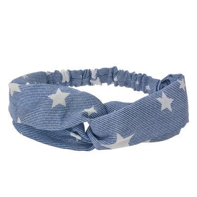 Haarband twist sterren blauw