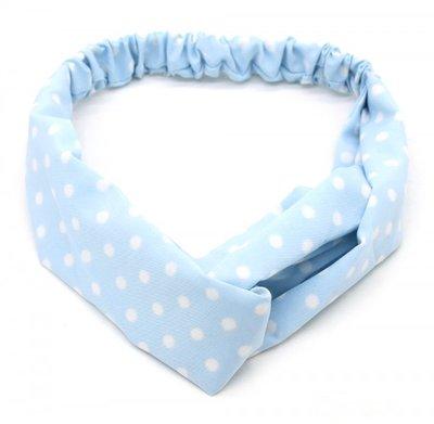 Haarband twist dot lichtblauw