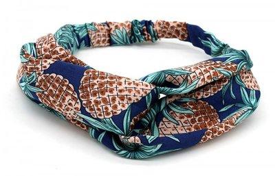 Haarband Twist Ananas Donker Blauw Bruin