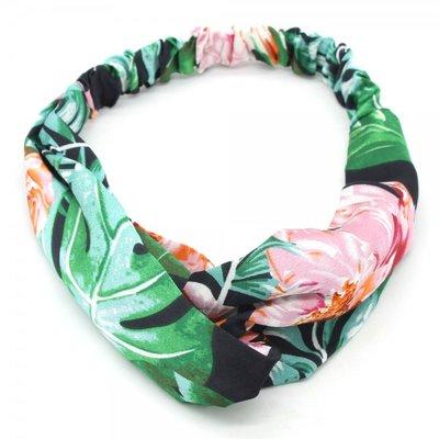 Haarband twist bloem zwart groen