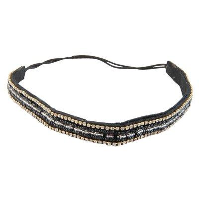 Haarband strass kraaltjes zwart