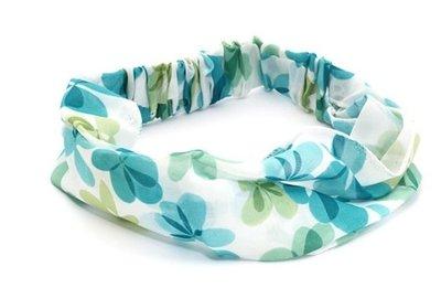 Haarband Bandana 3-in-1 Bloem Aqua Blauw