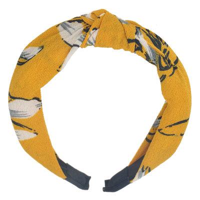 Diadeem knoop bloemen print geel