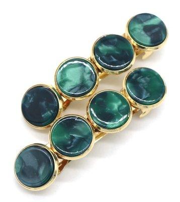Haarspeld marble cirkel groen