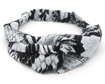 Haarband Twist Snake Print Grijs