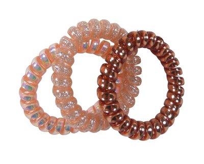 Haarelastieken invisibobble glitter roze bruin