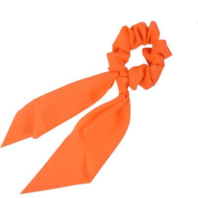 Scrunchie Haarelastiek Linten Medium Neon Oranje