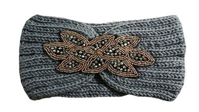 Haarband Knitted Kraaltjes Goud Grijs