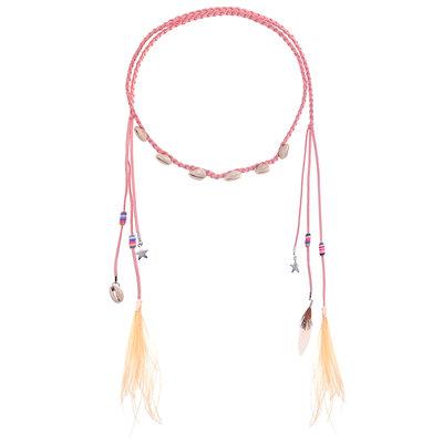 Haarband Schelpen Veren Kralen Color Roze