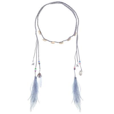 Haarband Schelpen Veren Kralen Color Grijs