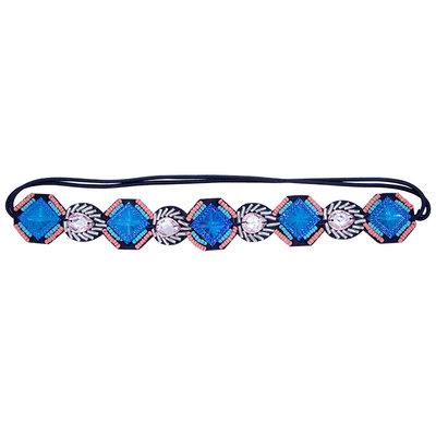 Haarband Kraaltjes Strass Vierkant Oranje Blauw