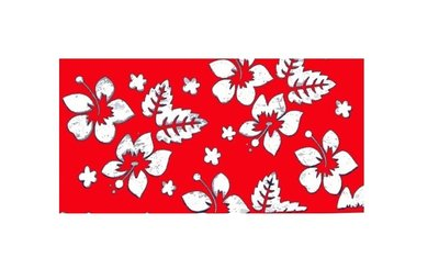 Haarband Multifunctioneel Bloemen Print Rood Wit
