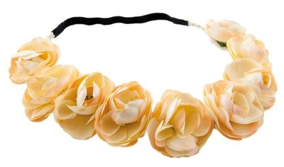 Haarband grote bloemen geel