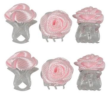 Haarklemmen roosje roze