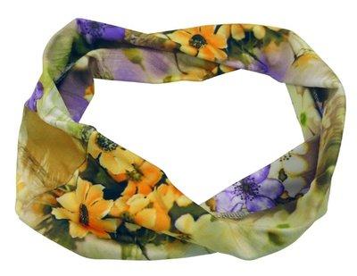 Haarband basic bloem paars geel