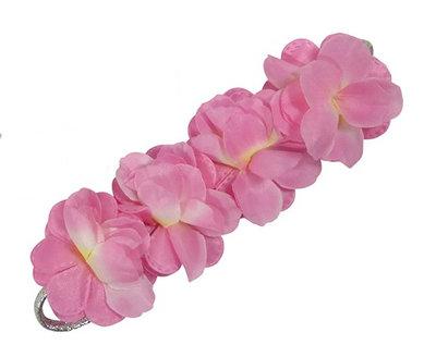 Haarband zilver bloemen roze