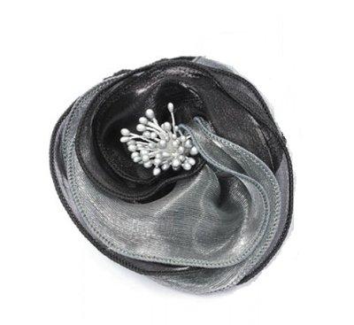 Haarbloem glans grijs zwart
