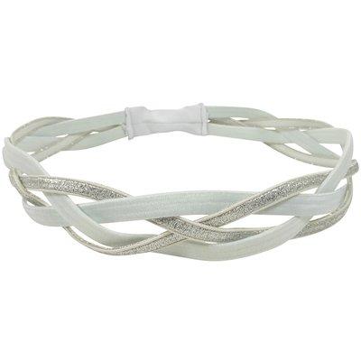 Haarband Elastiek Sport Gevlochten Zilver Wit