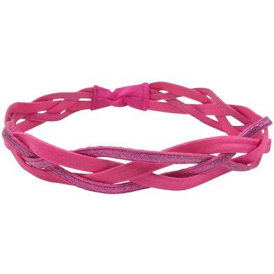 Haarband Elastiek Sport Gevlochten Glitter Roze