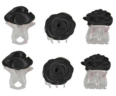 Haarklemmen roosje zwart