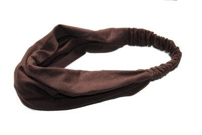 Bandana haarband basic donker bruin