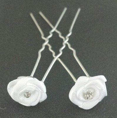 Haarpinnen roos satijn wit