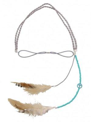 Haarband Ibiza feather grijs