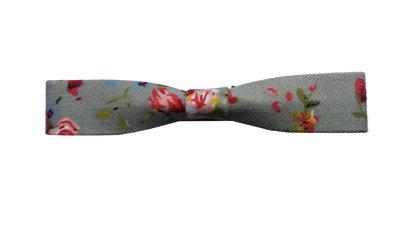 Duckklem bloemen print grijs