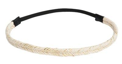 Haarband gevlochten ivoor goud