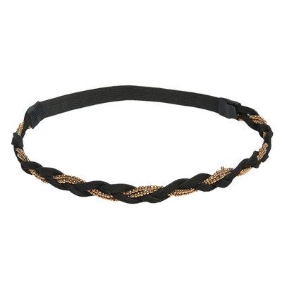 Haarband gevlochten goud zwart
