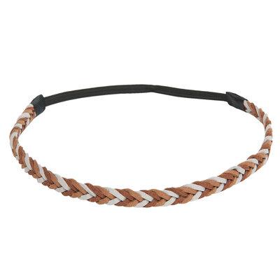 Haarband gevlochten grijs bruin