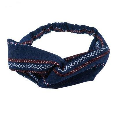 Haarband twist print blauw