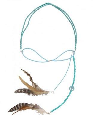 Haarband Ibiza feather aqua blauw