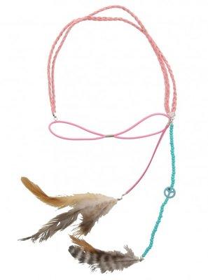 Haarband Ibiza feather roze