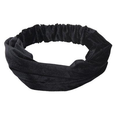 Haarband velvet 3-in-1 zwart