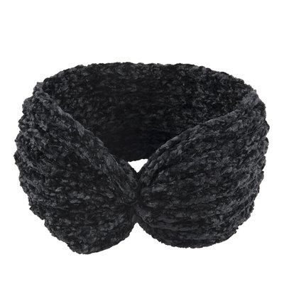 Haarband knitted velvet zwart