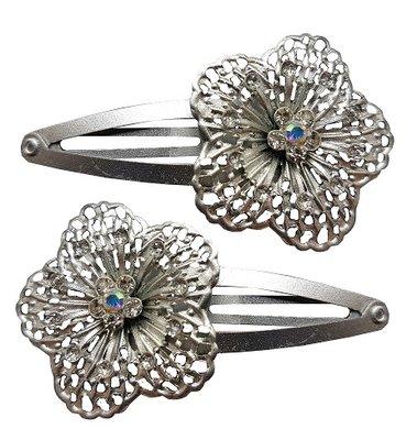 Klikklak bloem strass zilver