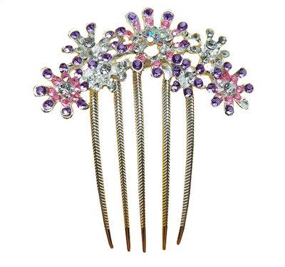 Sierkam bloem strass zilver roze paars
