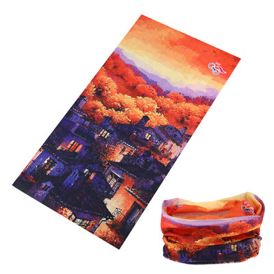 Haarband multifunctioneel landschap oranje paars