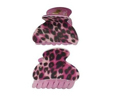 Haarklemmen panter print roze