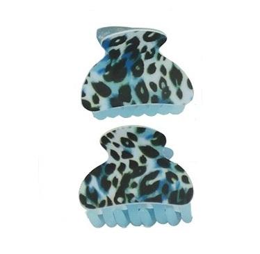 Haarklemmen panter print blauw