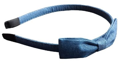 Diadeem strik jeans blauw