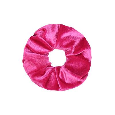 Scrunchie haarelastiek velvet fuchsia roze