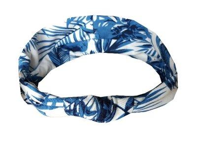 Haarband knoop leaves wit blauw
