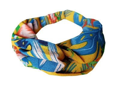 Haarband twist tropical color geel