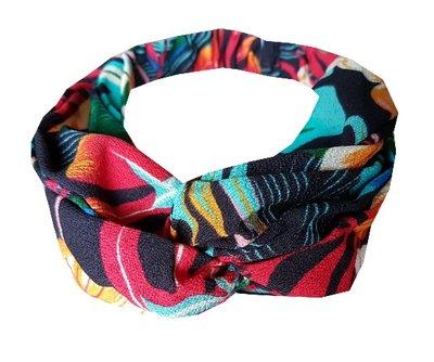 Haarband twist tropical color zwart