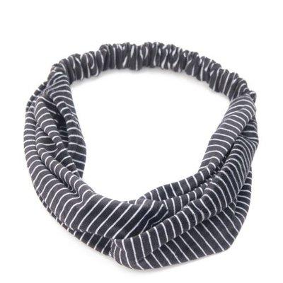Haarband velvet twist streep zwart